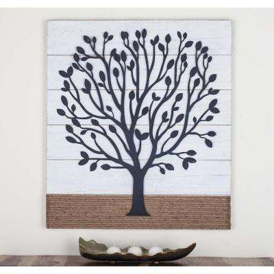 36 in. x 32 in. Tree Art Iron, Wood and Rope Wall Decor