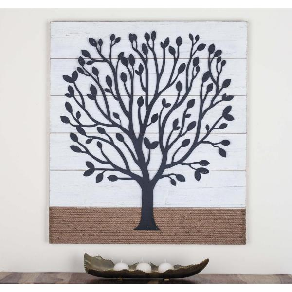 36 In X 32 In Tree Art Iron Wood And Rope Wall Decor