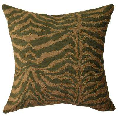 Brown and Olive Animal Print Throw Pillow