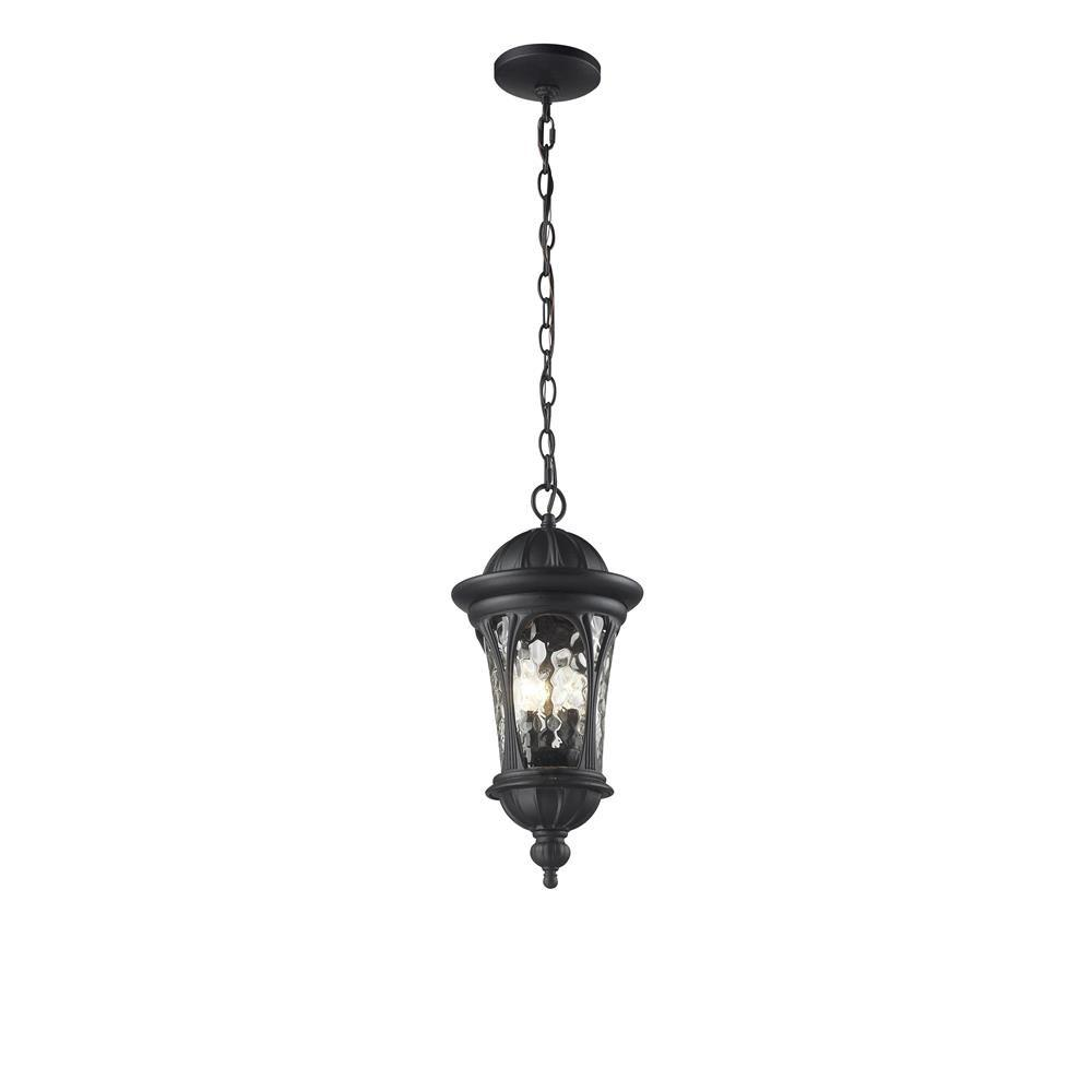Lawrence 3-Light Outdoor Hanging Black Incandescent Pendant