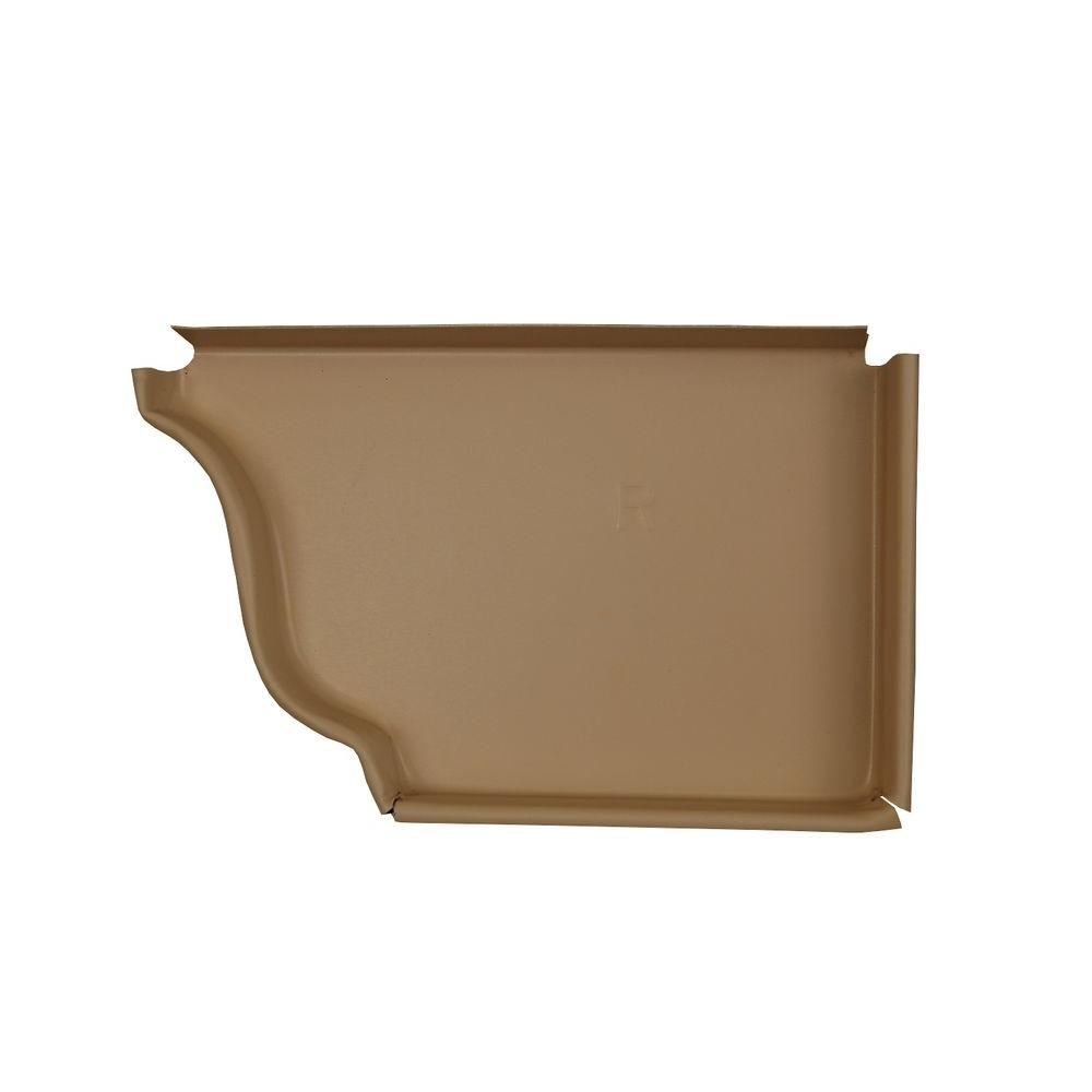 Amerimax Home Products 5 in. Light Maple Aluminum Right End Cap