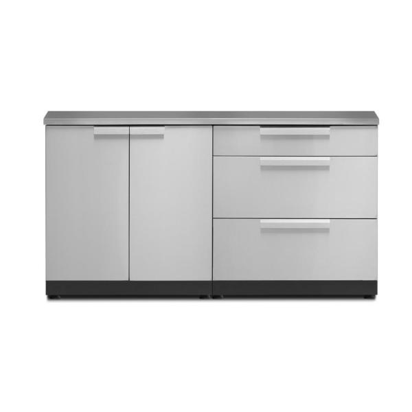 Newage Products Stainless Steel 3 Piece 64 In W X 36 5 In H X 24 In D Outdoor Kitchen Cabinet Set With Countertop And Covers 65105 The Home Depot