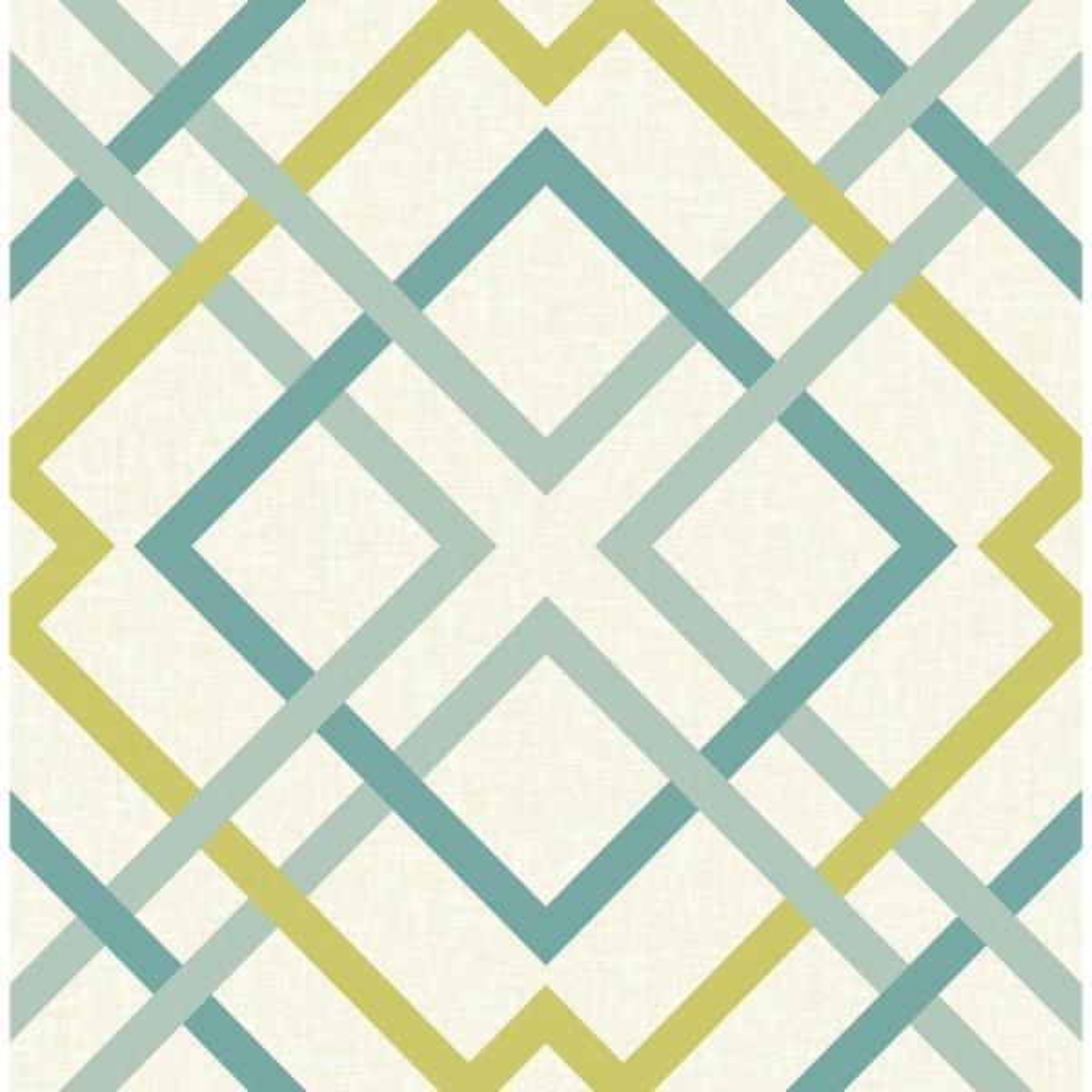 A-Street Saltire Green Lattice Wallpaper Sample 2697-22651SAM