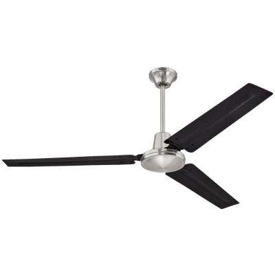 Industrial 56 in. Indoor Brushed Nickel Ceiling Fan with Wall Control