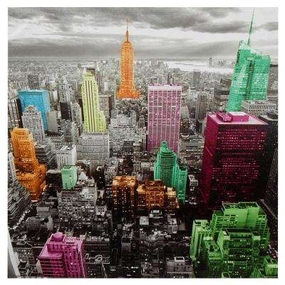 "Oriental Furniture 32 in. x 24 in. ""High-Lights of New York Skyline"" Canvas Wall Art"