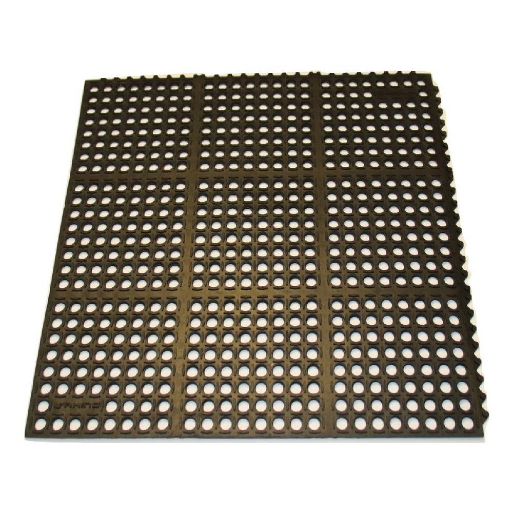 K-Series Black 36 in. x 60 in. x 7/10 in. Drain-Thru Grease-Resistant Rubber Kitchen Mat