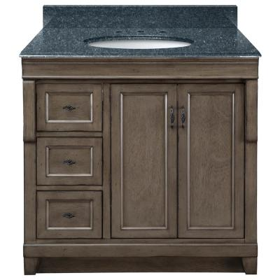 Naples 37 in. x 22 in. D Bath Vanity in Distressed Grey with Granite Vanity Top in Blue Pearl with Oval White Basin