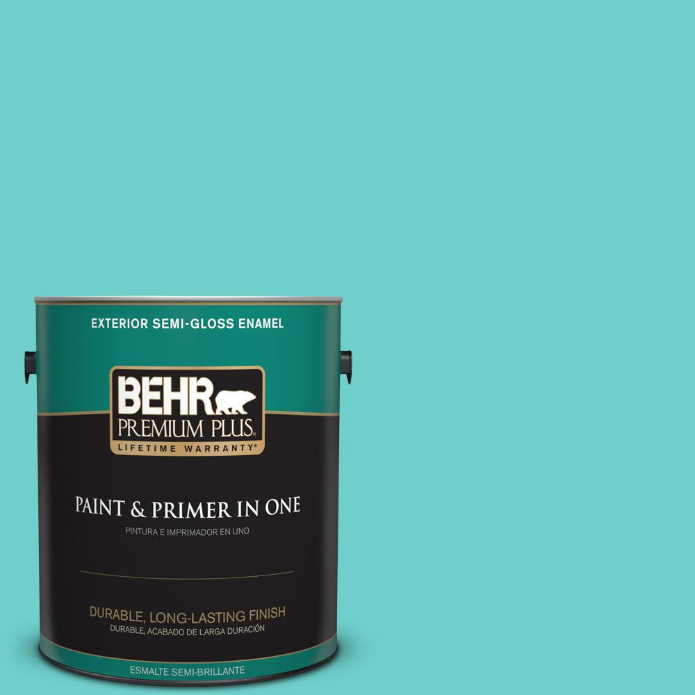 1-gal. #P450-4 Hidden Sea Glass Semi-Gloss Enamel Exterior Paint