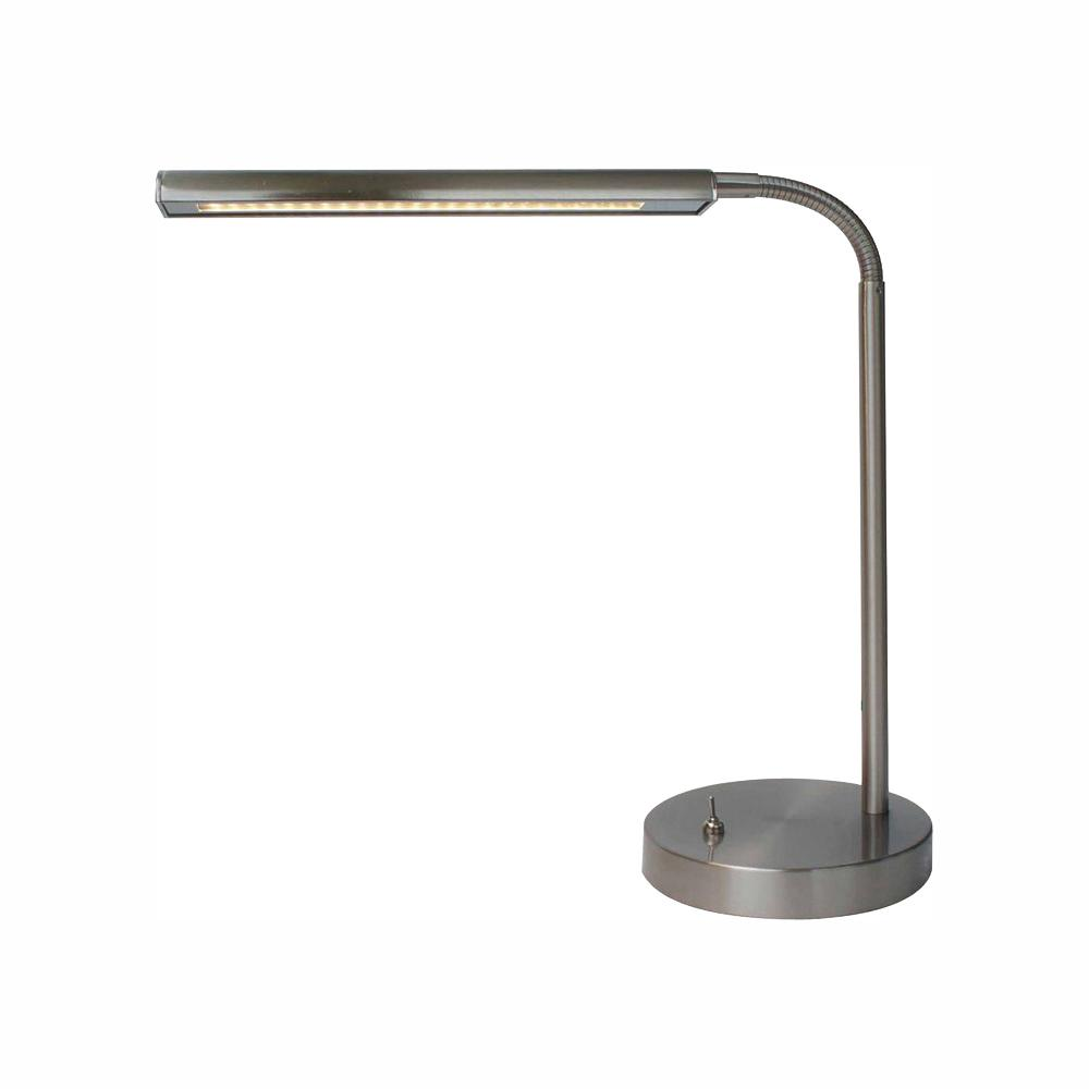 Hampton Bay 14 7 In Satin Indoor Led Gooseneck Table Lamp