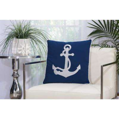 Emb Anchor 18 in. x 18 in. Navy and White Indoor and Outdoor Pillow