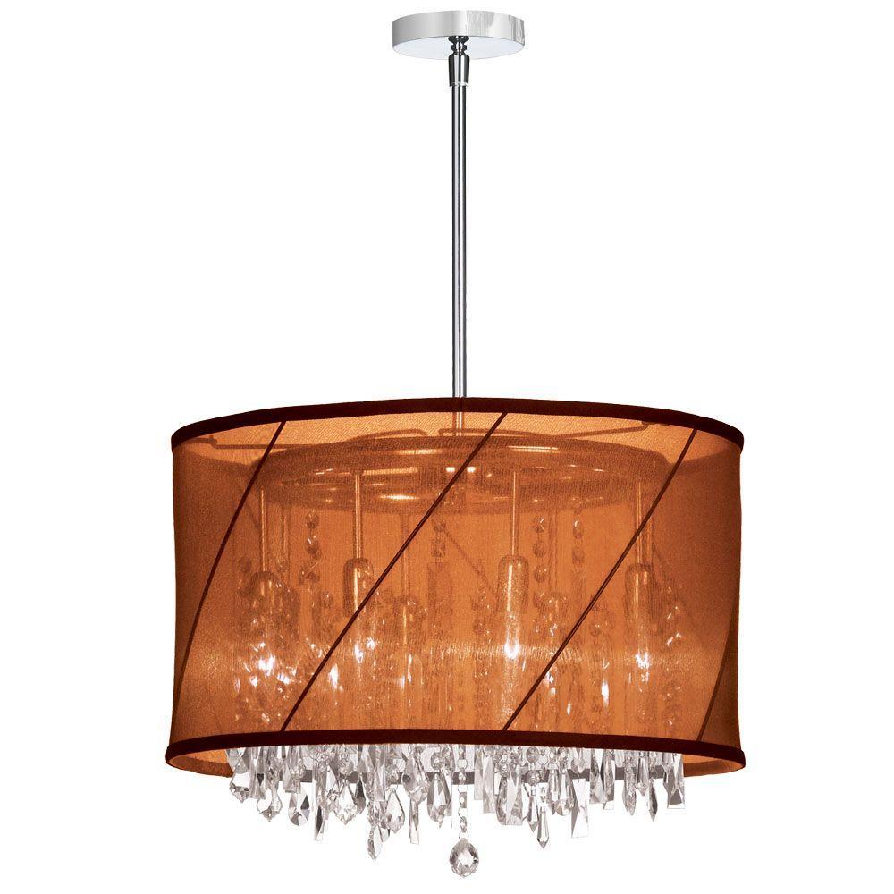 Saffron 6-Light Polished Chrome Crystal Chandelier with Chocolate/Rust Saffron Shade