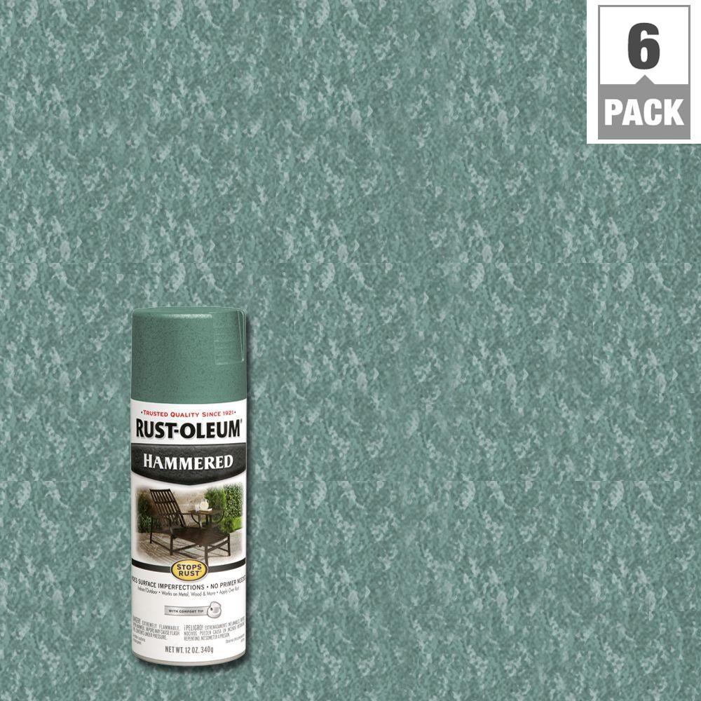 12 oz. Protective Enamel Hammered Verde Green Spray Paint (6-Pack)