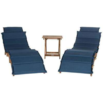 Pacifica Natural Brown 3-Piece Wood Outdoor Lounge Chair with Navy Cushion