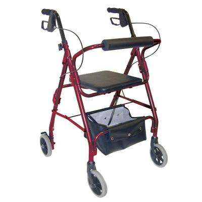 Ultra Lightweight Aluminum Rollator with Adjustable Seat Height in Burgundy