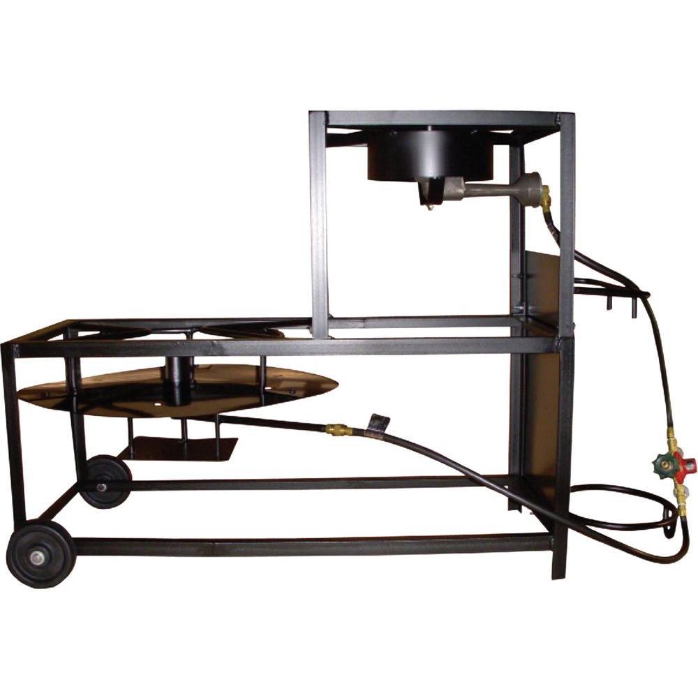 105,000 BTU Bolt Together Propane Gas Outdoor Frying/Boiling Cart with Cast Burner and Jet Burner
