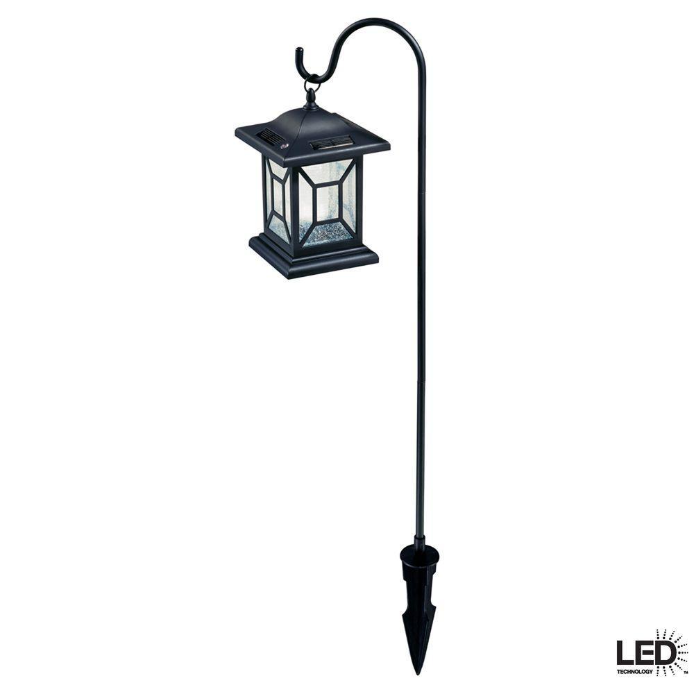 Solar Black Outdoor Integrated LED Diamond Shepard Hook Lantern Landscape Path Light  (2-Pack)