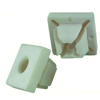 M6-1/4 in. White Square Nylon Push-In Nut (2-Piece per Bag)