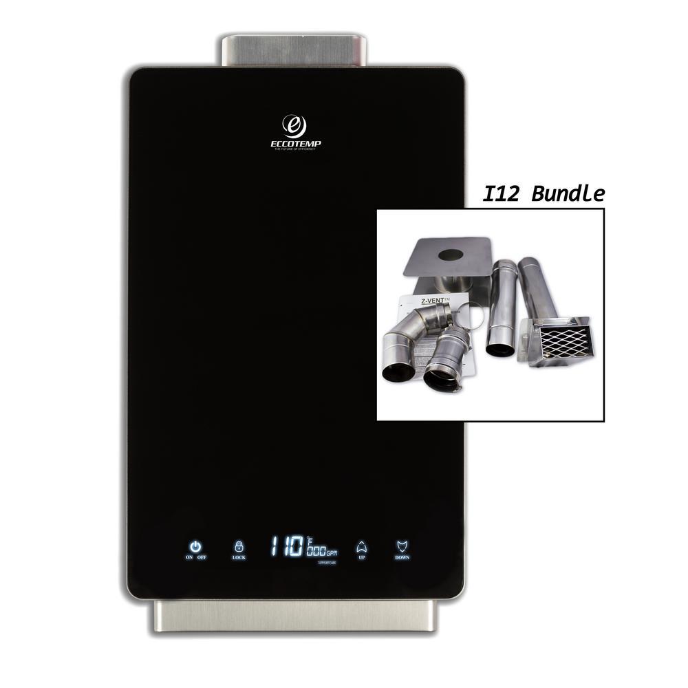 Eccotemp i12 4.0 GPM WholeHome 80,000 BTU Natural Gas Indoor Tankless Water Heater Horizontal Bundle