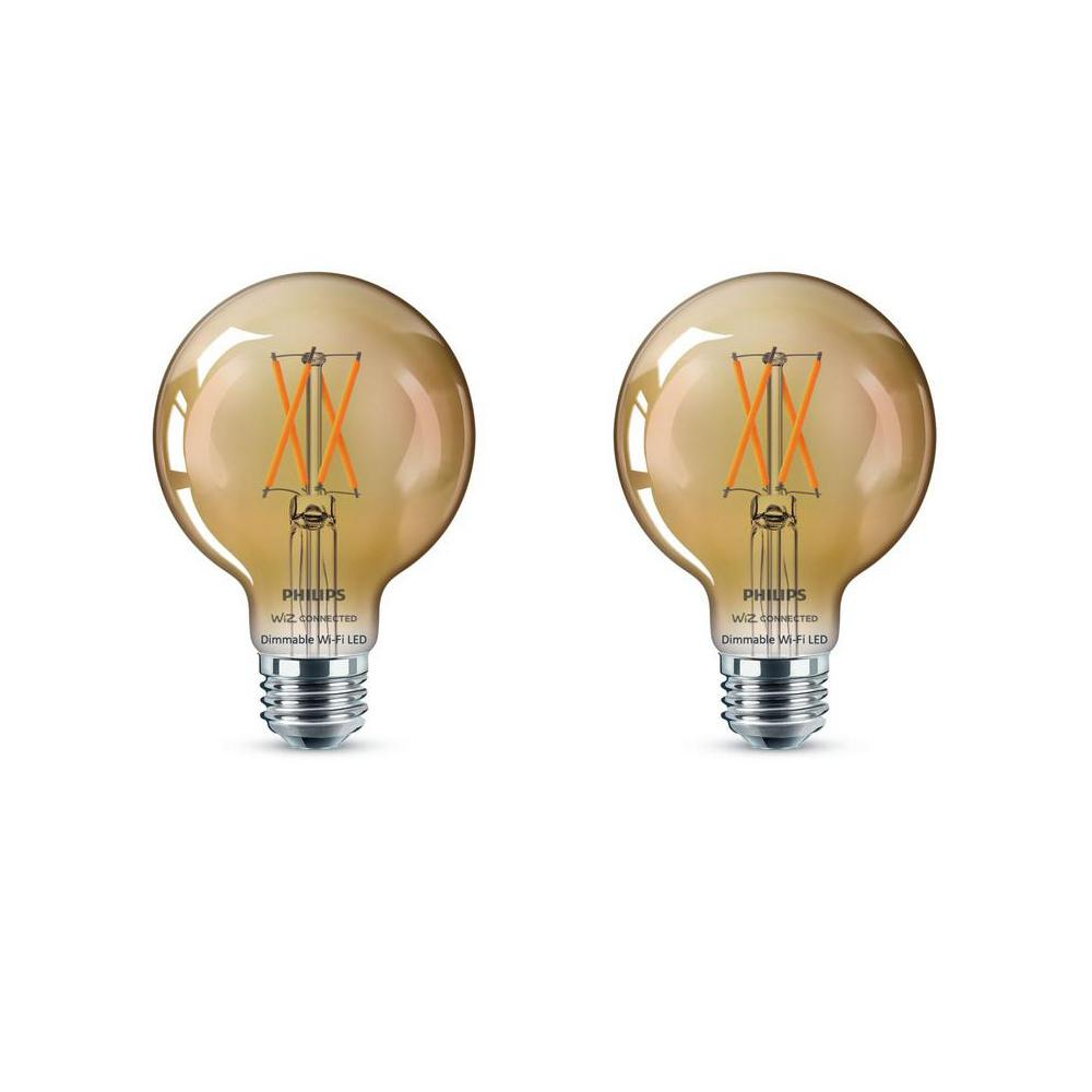 Philips Amber G25 LED 40-Watt Equivalent Dimmable Smart Wi-Fi Wiz Connected Wireless Light Bulb (2-Pack)