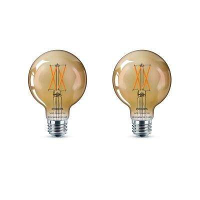 Amber G25 LED 40-Watt Equivalent Dimmable Smart Wi-Fi Wiz Connected Wireless Light Bulb (2-Pack)