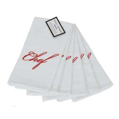 Elegant Embroidered Cotton Twill Chef Towels (Set of 6)