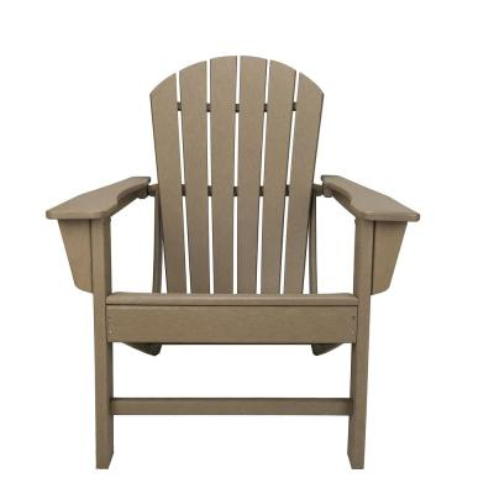 Sunny Taupe Plastic Adirondack Chair
