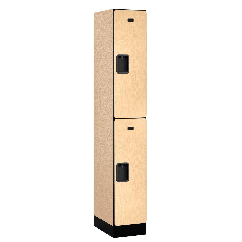 Salsbury Industries 32000 Series 12 in. W x 76 in. H x 18 in. D 2-Tier Designer Wood Locker in Maple