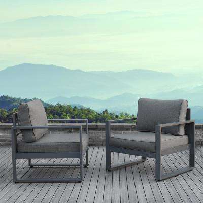Baltic Gray 2 Piece Aluminum Patio Conversation Set with Gray Cushions