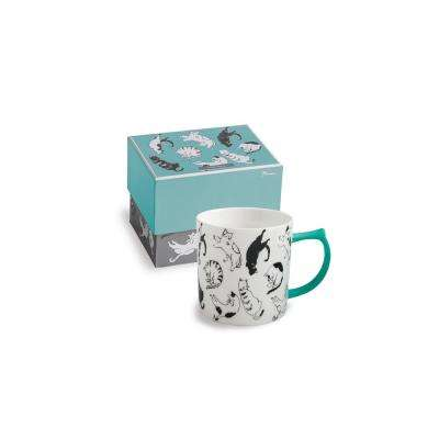 14 oz. Purr and Wag Teal Cat Mug