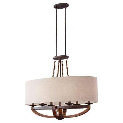 Adan 35.625 in. W 6-Light Rustic Iron/Burnished Wood Billiard Island Chandelier with Beige Linen Fabric Shade and Beads