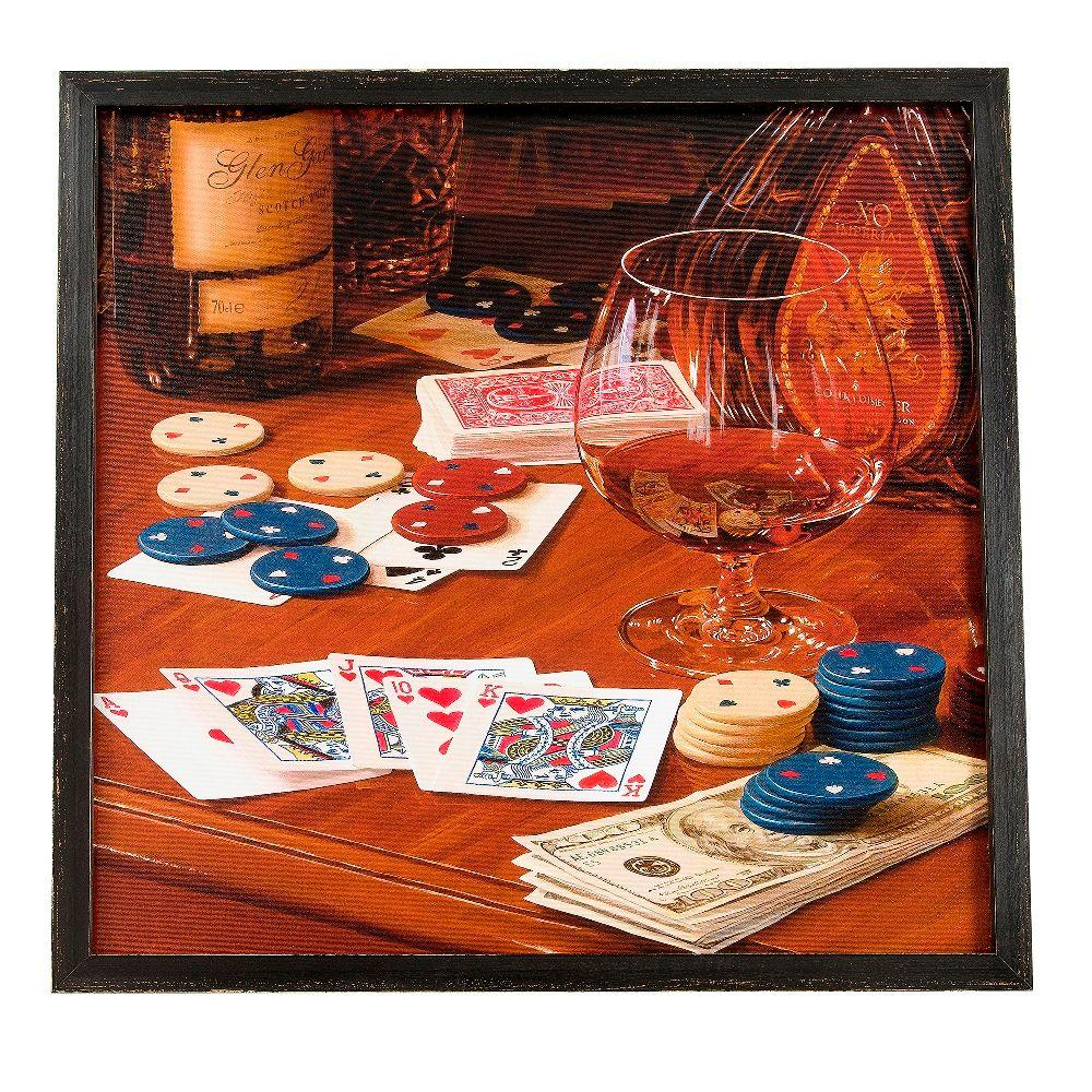 Onsia 24 in. x 24 in. Straight Flush Framed Wall Art with Speaker