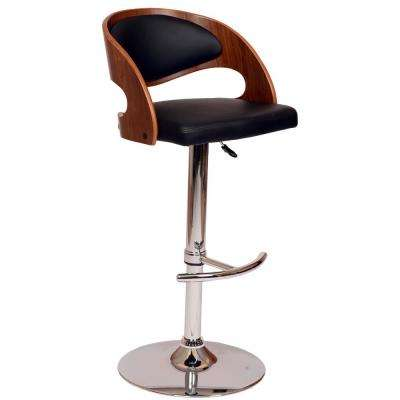 Malibu 46 in. Black Faux Leather and Chrome Finish Swivel Barstool