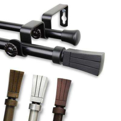 28 in. - 48 in. Telescoping 5/8 in. Double Curtain Rod Kit in Cocoa with Flare Finial