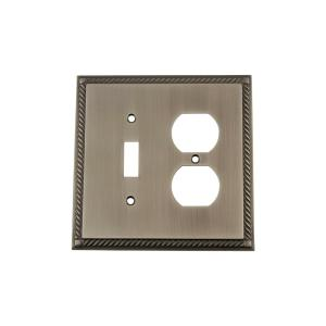 Nostalgic Warehouse Rope Switch Plate with Toggle and Outlet in Antique Pewter by Nostalgic Warehouse