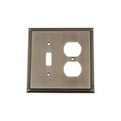 Rope Switch Plate with Toggle and Outlet in Antique Pewter