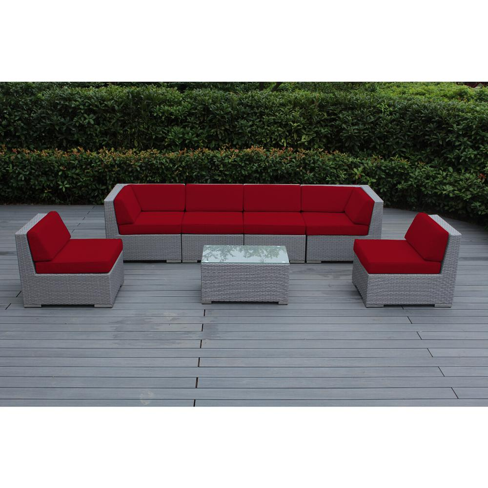 Ohana Depot Ohana Gray 7-Piece Wicker Patio Seating Set with Spuncrylic Red Cushions