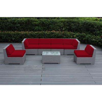 Ohana Gray 7-Piece Wicker Patio Seating Set with Spuncrylic Red Cushions