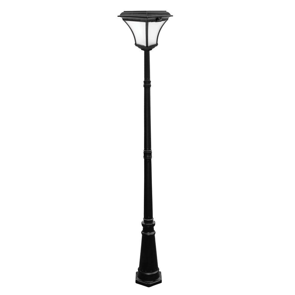 Nature Power Kona 88 in. 29-Light Black Outdoor Solar Powered Lamp Post with Warm White LEDs