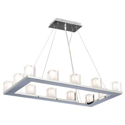 12-Light Polished Chrome Pendant with Frost Glass Shade