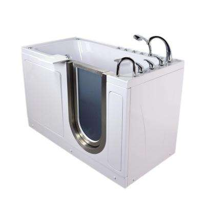 Ultimate 5 ft. x 30 in. Acrylic Walk-In Dual Air and Whirlpool Bathtub with Foot Massage in White and Right Drain/Door