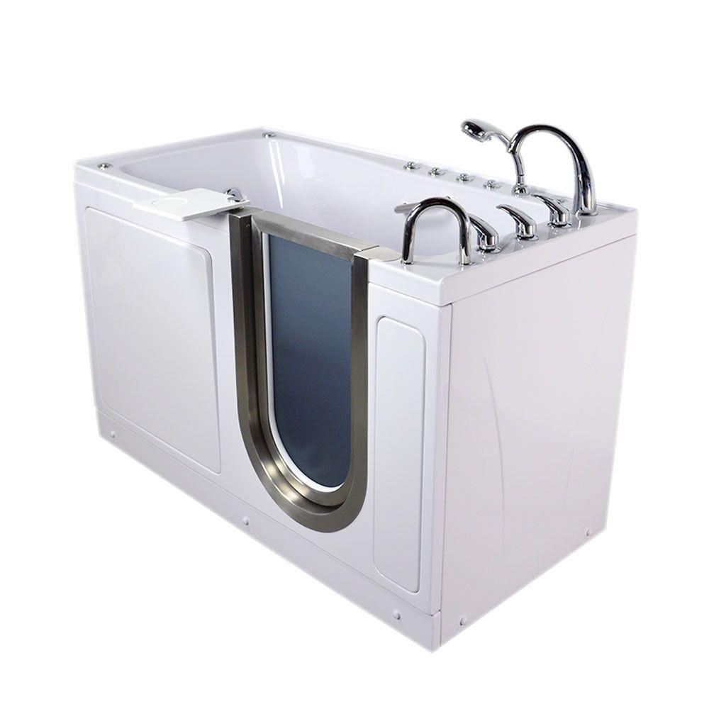 Ella Ultimate 5 ft. Acrylic Walk-In Air and Whirlpool Bathtub with ...