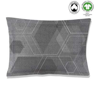 Hexad Reversible Print Black and White 100% Organic Cotton Queen Sham (Set of 2)