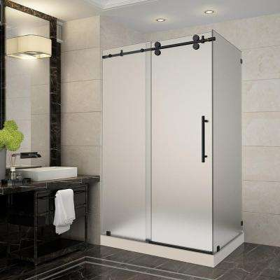 Langham 48 in. x 35 in. x 77.5 in. Frameless Sliding Shower Enclosure and Frosted in Oil Rubbed Bronze with Right Base
