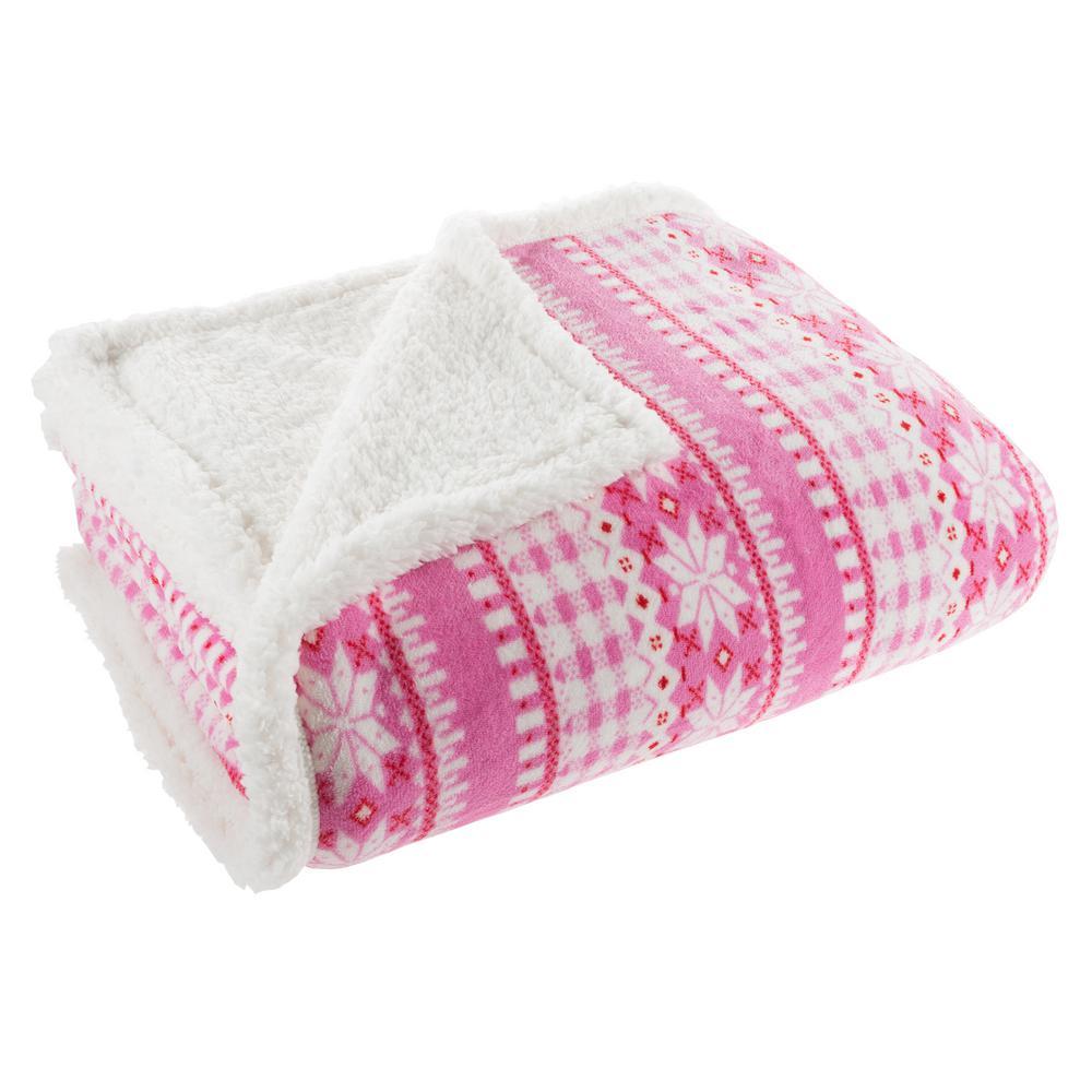 Pink Snowflake Plush Sherpa Fleece Throw