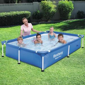 Bestway Bestway Steel Pro 87 in. x 59 in. x 17 in. Rectangular Frame Above  Ground Swimming Pool-56545E-BW - The Home Depot