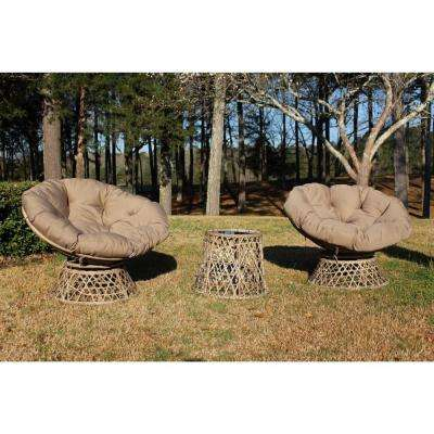 Daisy Lane 3-Piece Wicker Conversation Set with Papasan Chair with Tan Cushions