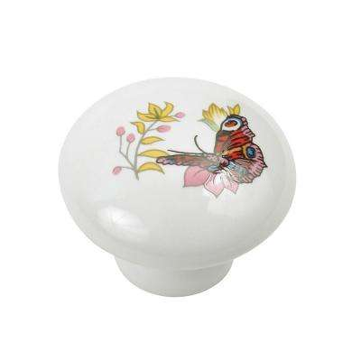 1-11/32 in. (34 mm) Functional Butterfly and Red Round Cabinet Knob