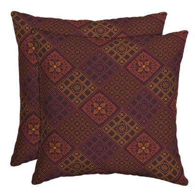 16 in. x 16 in. Azulejo Southwest Outdoor Throw Pillow (2-Pack)