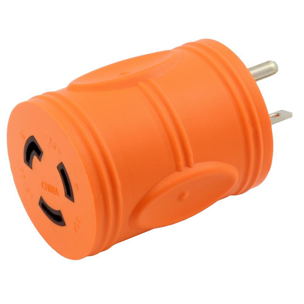 Ac Works Locking Adapter 5 20p 20 Amp Househole Male Plug To Grip Rv Power Cord 125v 30 Female 15 L5