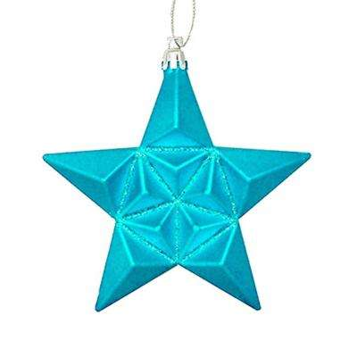 5 in. Matte Turquoise Blue Glittered Star Shatterproof Christmas Ornaments (12-Count)